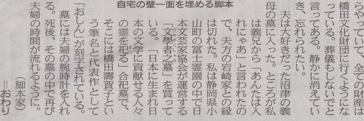 日本経済新聞「私の履歴書 橋田壽賀子」令和元年五月 (30)720